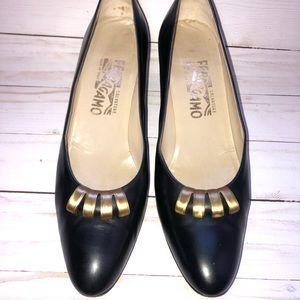 Salvatore Ferragamo black leather low heel